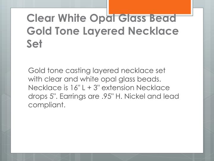 Clear White Opal Glass Bead Gold Tone Layered Necklace