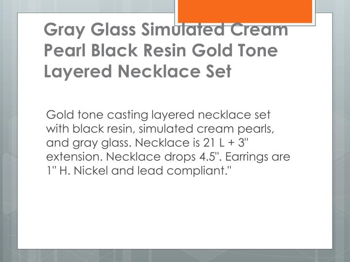 Gray Glass Simulated Cream Pearl Black Resin Gold Tone Layered Necklace