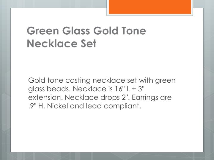 Green Glass Gold Tone Necklace