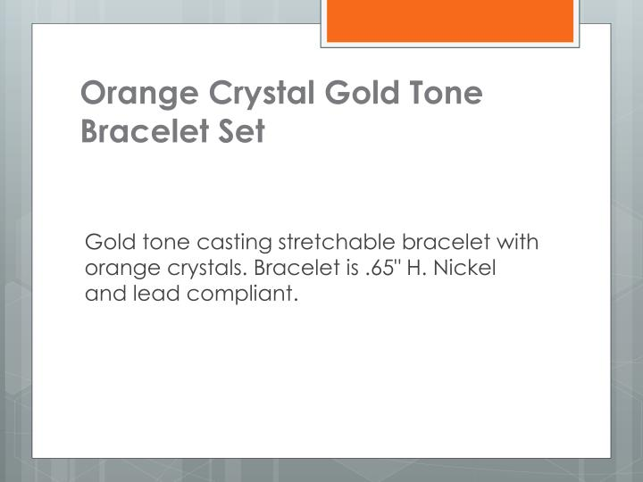 Orange Crystal Gold Tone Bracelet