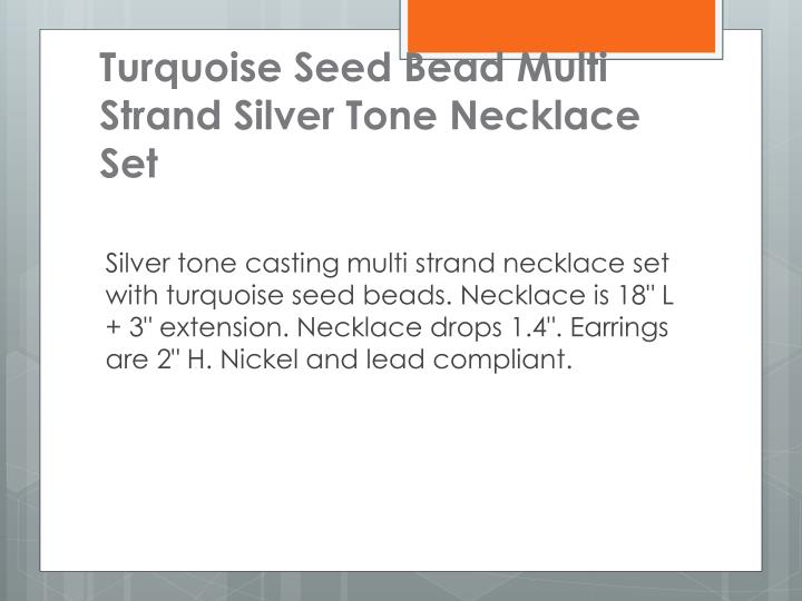 Turquoise Seed Bead Multi Strand Silver Tone Necklace