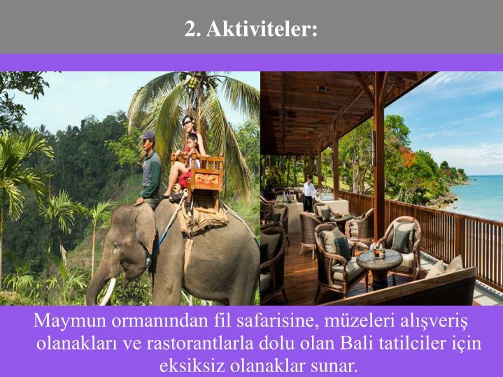 Maymun ormanından fil safarisine, müzeleri alışveriş olanakları ve rastorantlarla dolu olan Bali tatilciler için eksiksiz olanaklar sunar.