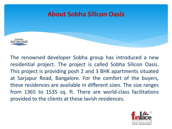 About sobha silicon oasis