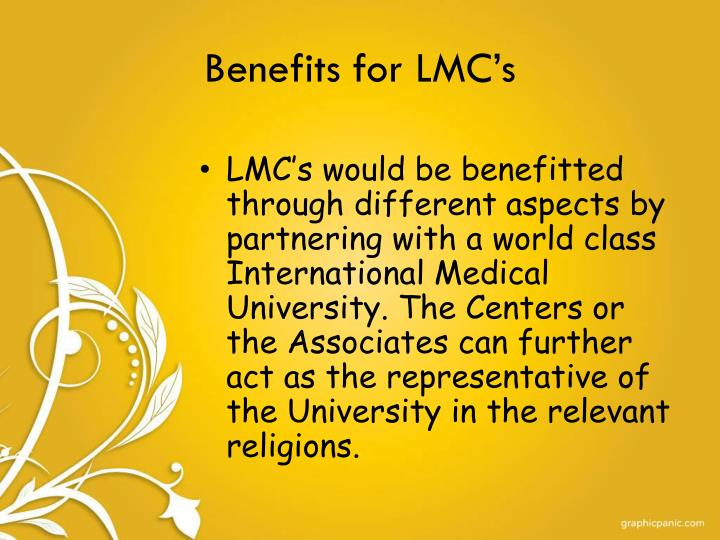 Benefits for LMC's