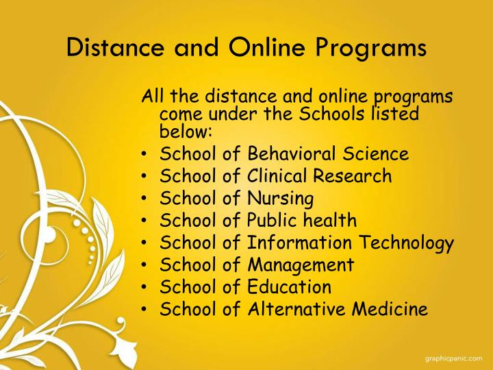 Distance and Online Programs