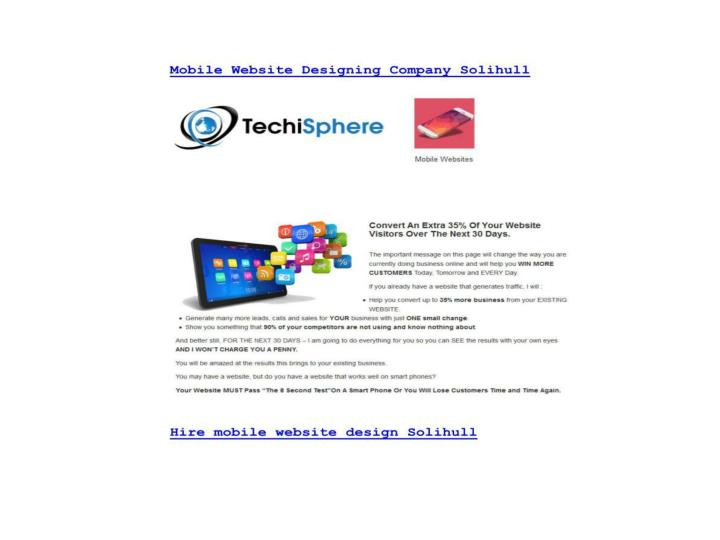 Mobile website designing company solihull techisphere com