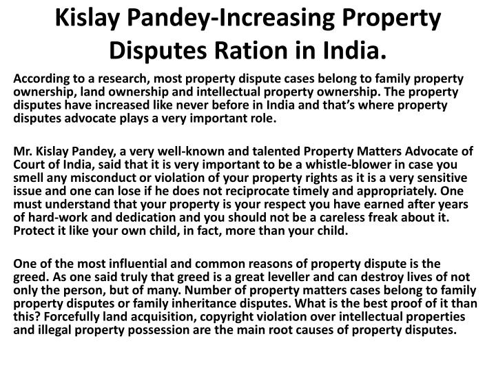 Kislay pandey increasing property disputes ration in india1