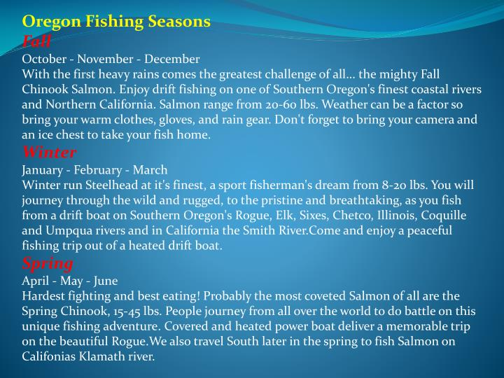 Oregon Fishing Seasons