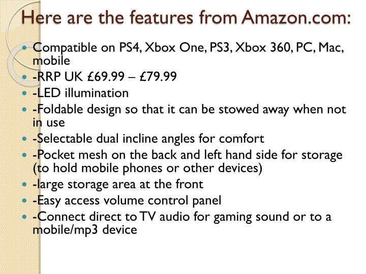 Here are the features from Amazon.com: