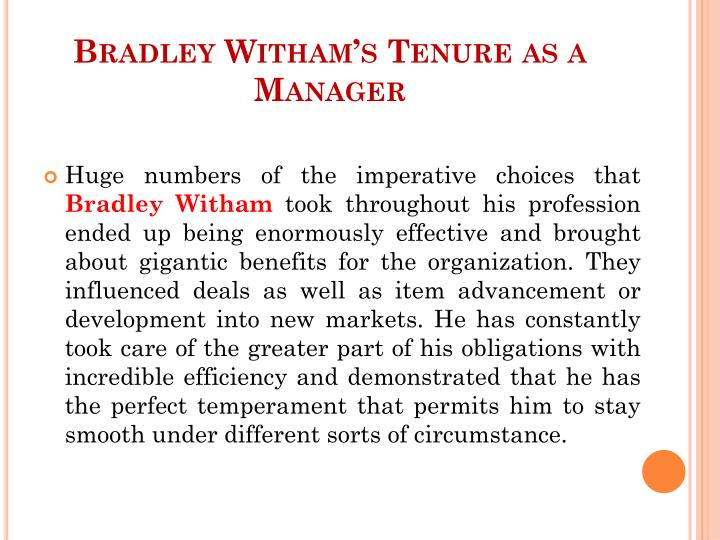 Bradley Witham's Tenure as a Manager