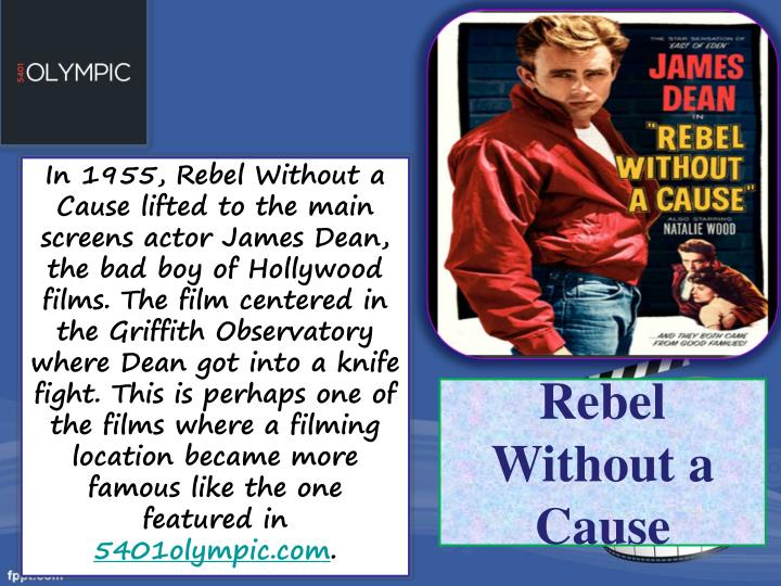 In 1955, Rebel Without a Cause lifted to the main screens actor James Dean, the bad boy of Hollywood films. The film centered in the Griffith Observatory where Dean got into a knife fight. This is perhaps one of the films where a filming location became more famous like the one featured in