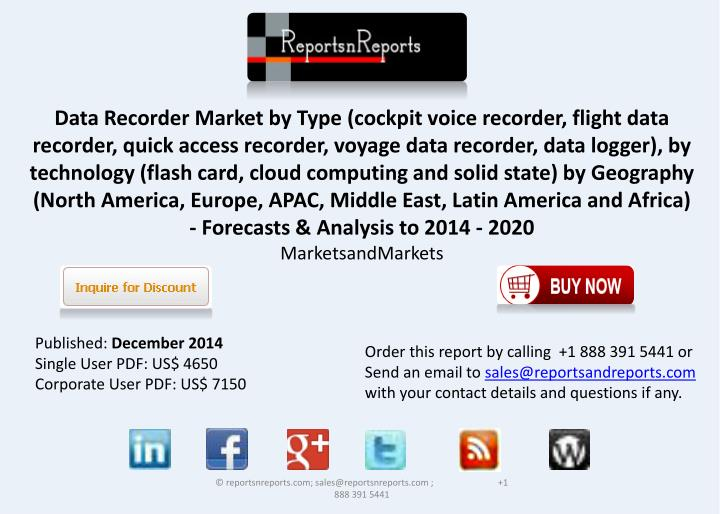 Data Recorder Market by Type (cockpit voice recorder, flight data recorder, quick access recorder, v...