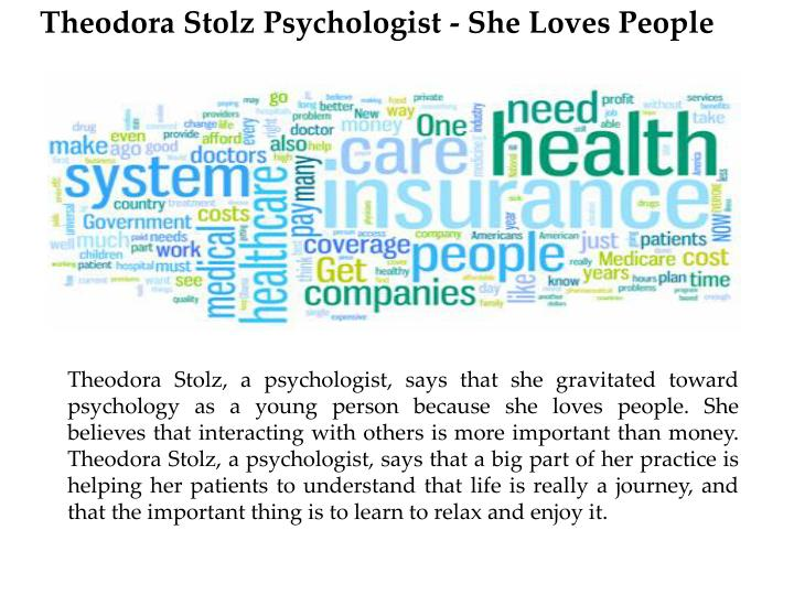 Theodora Stolz Psychologist - She Loves People