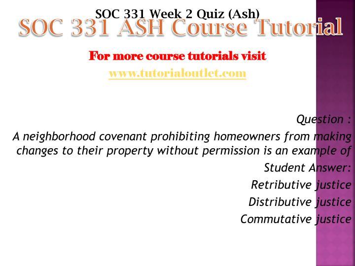 SOC 331 ASH Course