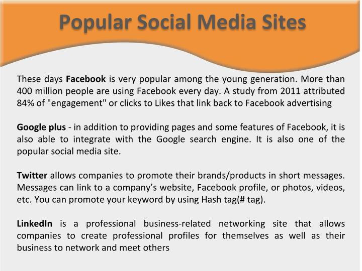 Popular Social Media Sites