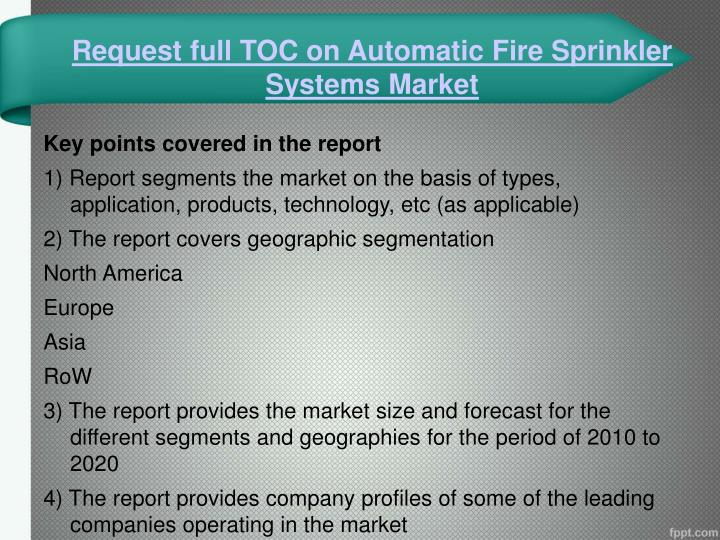 Request full TOC on Automatic Fire Sprinkler Systems Market
