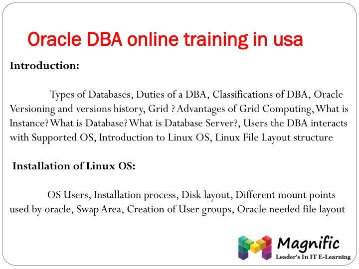 Oracle DBA online training in usa