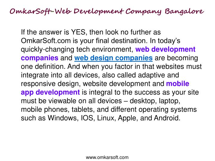 Omkarsoft web development company bangalore