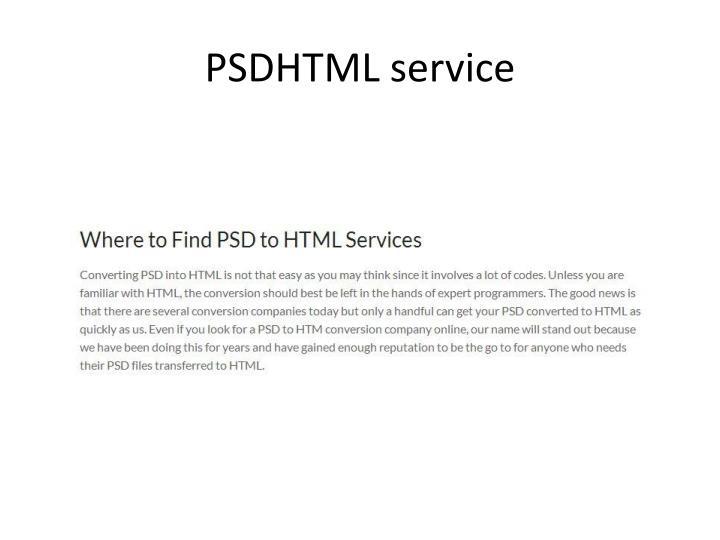 PSDHTML service