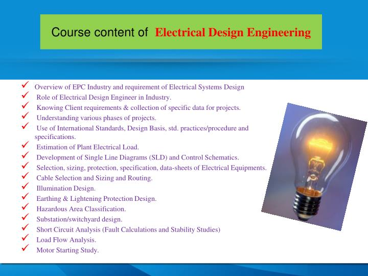 Course content of electrical design engineering