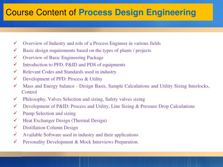 Course content of process design engineering