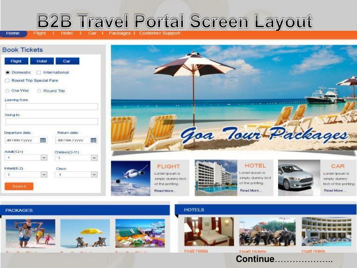 B2B Travel Portal Screen Layout
