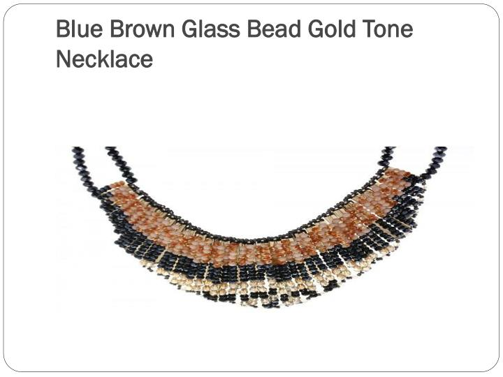 Blue Brown Glass Bead Gold Tone