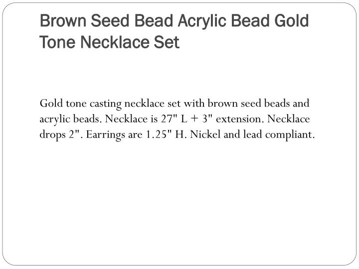 Brown Seed Bead Acrylic Bead Gold Tone Necklace