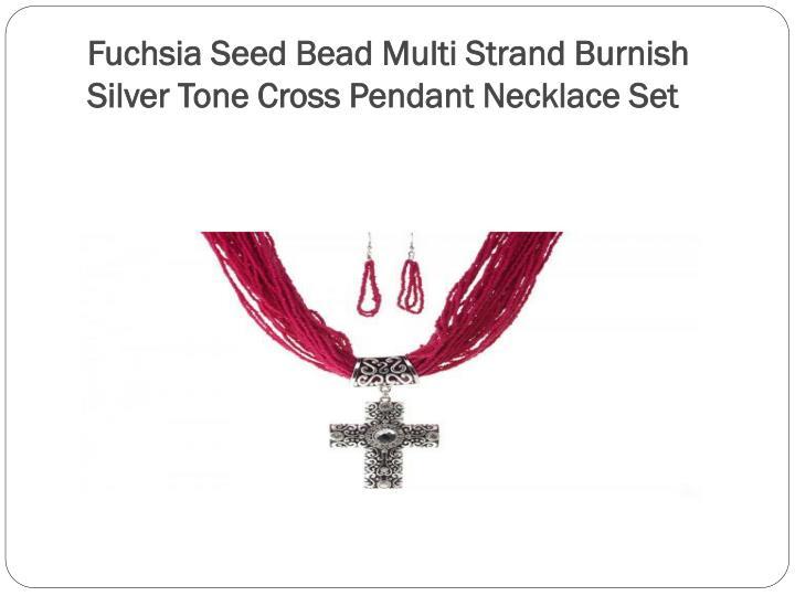 Fuchsia Seed Bead Multi Strand Burnish Silver Tone Cross Pendant Necklace