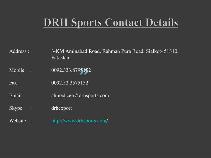 DRH Sports Contact Details