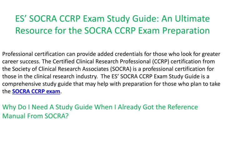 Es socra ccrp exam study guide an ultimate resource for the socra ccrp exam preparation