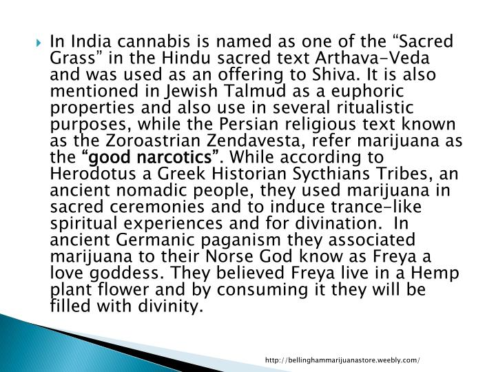 "In India cannabis is named as one of the ""Sacred Grass"" in the Hindu sacred text"