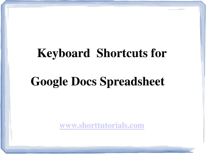 Keyboard  Shortcuts for
