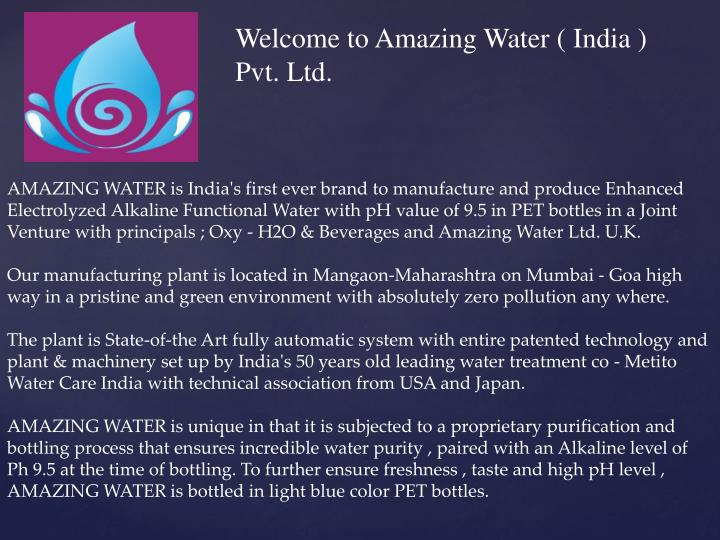 Welcome to Amazing Water ( India ) Pvt. Ltd.