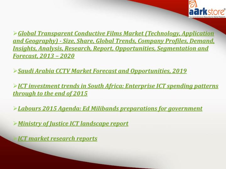 Global Transparent Conductive Films Market (Technology, Application and Geography) - Size, Share, Global Trends, Company Profiles, Demand, Insights, Analysis, Research, Report, Opportunities, Segmentation and Forecast, 2013 – 2020