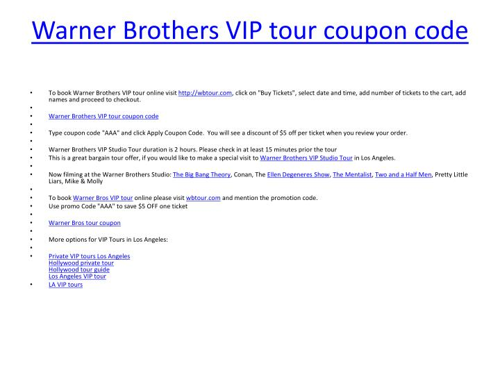 Warner Brothers VIP tour coupon code