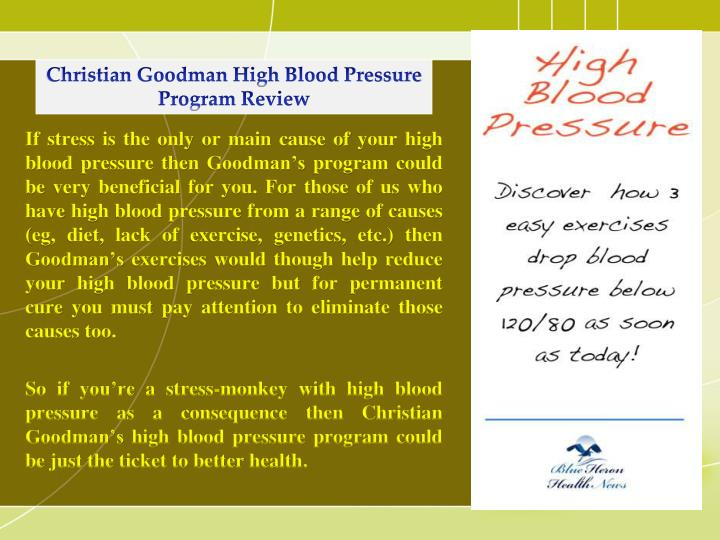 Christian Goodman High Blood Pressure Program Review
