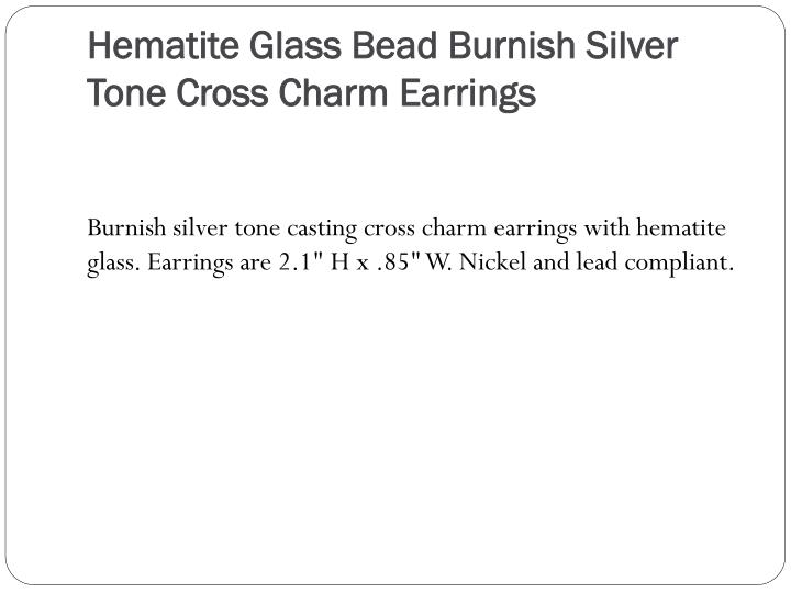 Hematite Glass Bead Burnish Silver Tone Cross Charm