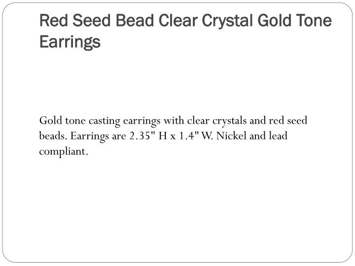 Red Seed Bead Clear Crystal Gold Tone