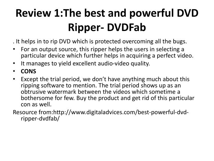 Review 1:The best and powerful DVD Ripper-