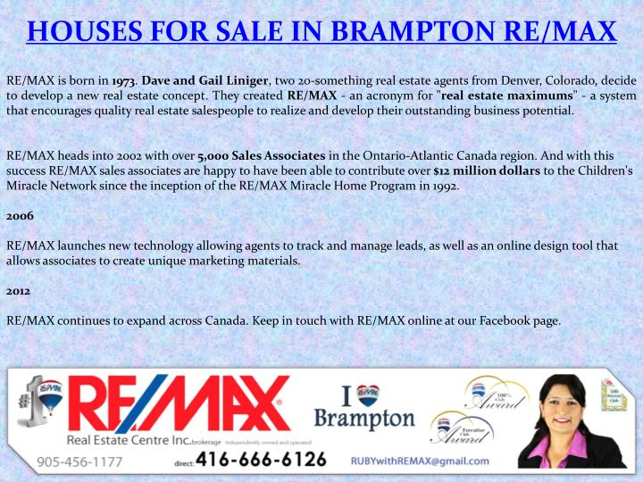 HOUSES FOR SALE IN BRAMPTON RE/MAX