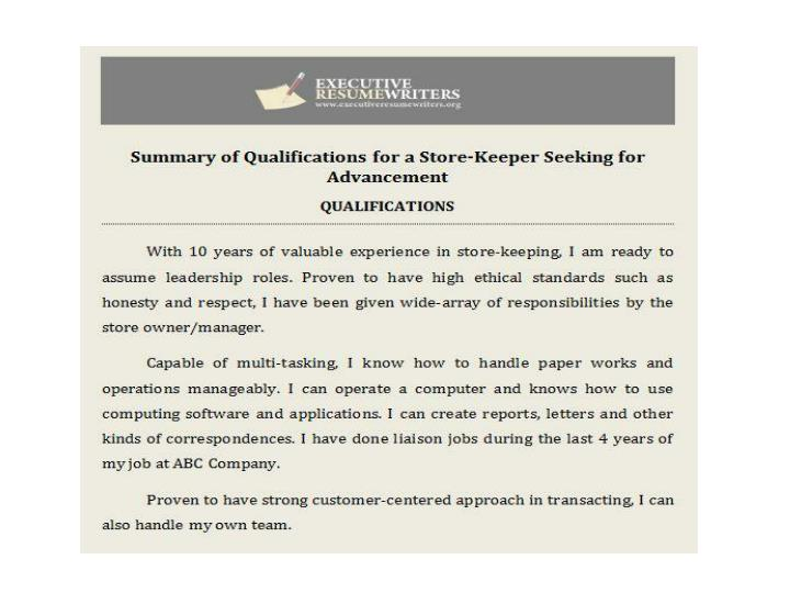 Statement of qualifications