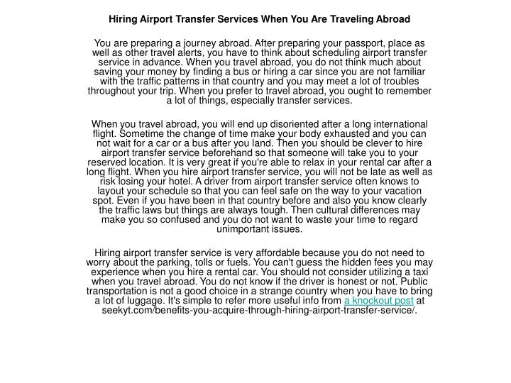 Hiring Airport Transfer Services When You Are Traveling Abroad