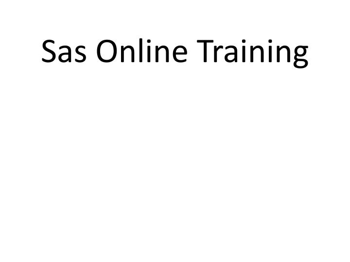 Sas Online Training