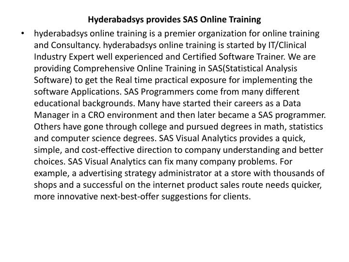 Hyderabadsys provides SAS Online Training