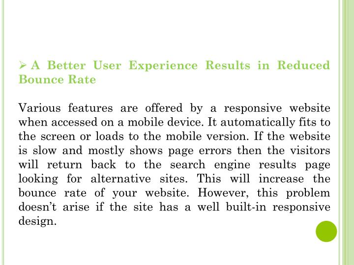 A Better User Experience Results in Reduced Bounce Rate