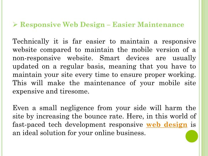Responsive Web Design – Easier Maintenance