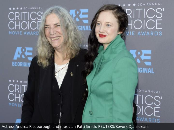 Actress Andrea Riseborough and musician Patti Smith. REUTERS/Kevork Djansezian