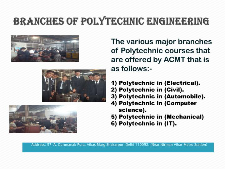 Branches of Polytechnic Engineering