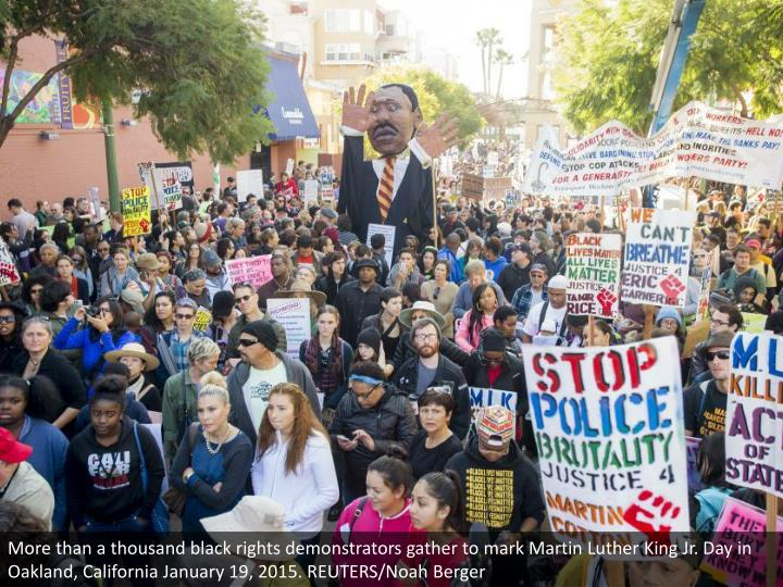 More than a thousand black rights demonstrators gather to mark Martin Luther King Jr. Day in Oakland, California January 19, 2015. REUTERS/Noah Berger